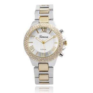 Geneva Platinum Rhinestone Accent Link Band Watch