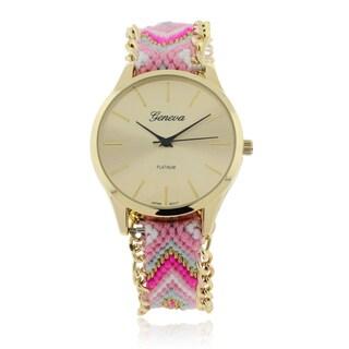 Geneva Platinum Woven Friendship Strap Watch