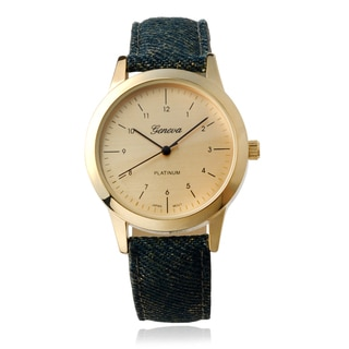Geneva Platinum Camo Round Face Faux Leather Strap Watch
