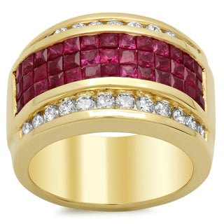 14k Yellow Gold 4/5ct TDW Diamond and 2 3/4ct Ruby Ring (F-G, SI1-SI2)