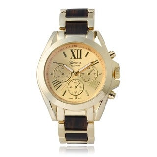 Geneva Platinum Round Face Two Tone Link Watch