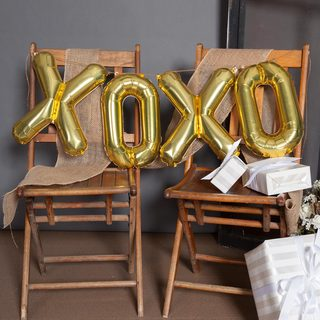 "34"" XOXO Balloon Kit, Gold"