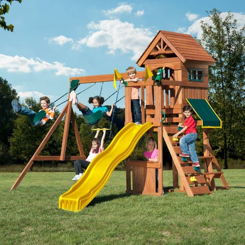 "Swing-N-Slide Jamboree Fort Wooden Swing Set with Rock Climbing Wall and Picnic Table with Awning - 13' W x 13' L x 9' 6"" H"