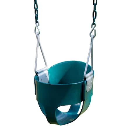 """Swing-N-Slide Toddler Bucket Swing - Green with Green Chains - 11"""" W x 10"""" D x 50"""" H"""