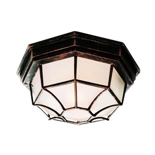 Cambridge Black Copper Finish Flush Mount with Frosted Shade