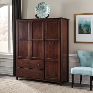 Superb Grain Wood Furniture Shaker 3 Door Solid Wood Armoire Cherry Finish