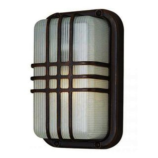 Cambridge Black Outdoor 1-light Flush Mount with Clear Ribbed Polycarbonate