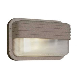 Cambridge 1-light Rust 10-inch Outdoor Flush Mount with Clear Ribbed Polycarbonate