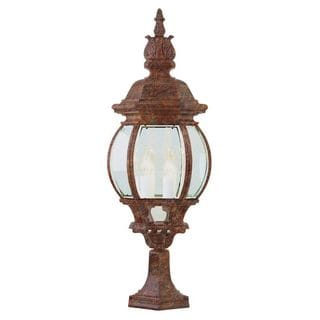 Cambridge Rust 4-light Outdoor Post Head with Beveled Shade