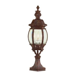 Cambridge Rust Finish 3-light Outdoor Post Head with Beveled Shade
