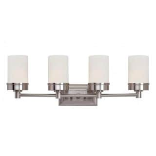 Cambridge 4-light Brushed Nickel 27.5-inch Bath Vanity with White Glass