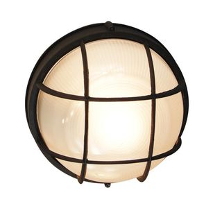 Cambridge 1-light Black Outdoor Flush Mount with Clear Ribbed Polycarbonate