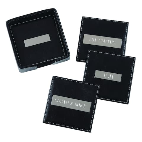 Royce Leather Square Coasters with 3 Inch Engravable Plate