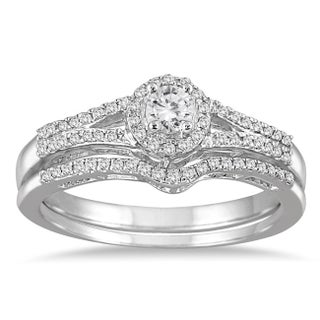 Marquee Jewels 10k White Gold 1/3ct TDW Split Shank Diamond Bridal Set (3 options available)