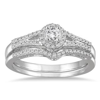 Marquee Jewels 10k White Gold 1/3ct TDW Split Shank Diamond Bridal Set
