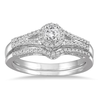 Marquee Jewels 10k White Gold 1/3ct TDW Split Shank Diamond Bridal Set (I-J, I1-I2)