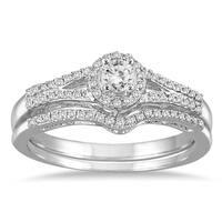 Marquee Jewels 10k White Gold 1/3ct TDW Split Shank Diamond Bridal Set