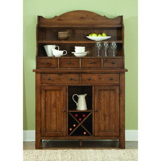 Hearthstone Traditional Rustic Oak Server and Hutch Set