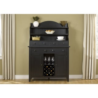 The Gray Barn Wisteria Traditional Rustic Black Server and Hutch Set