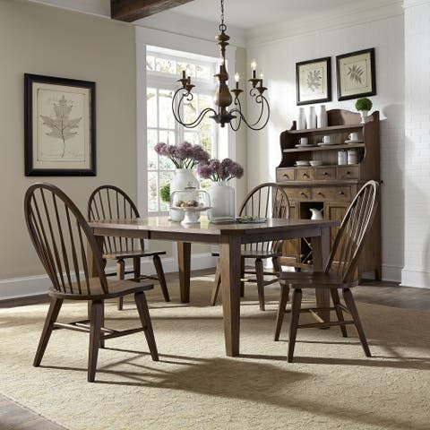 The Gray Barn Wisteria Traditional Rustic Oak 5-piece Dinette Set