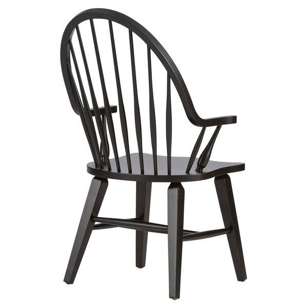 The Gray Barn WisteriaTraditional Rustic Black Windsor Arm Chair