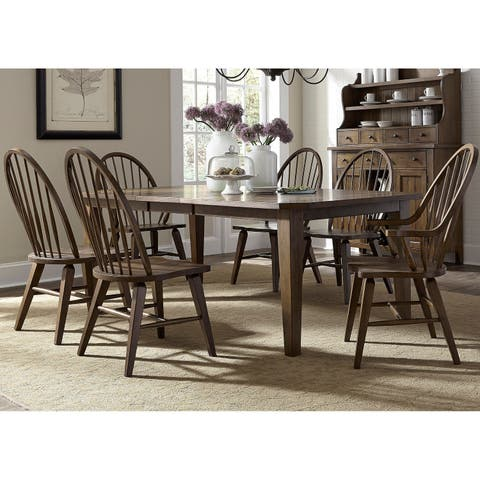 The Gray Barn Wisteria Traditional Rustic Oak 7-piece Dinette Set