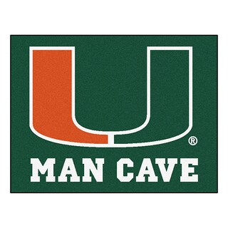 Fanmats University of Miami Green Nylon Man Cave Allstar Rug (2'8 x 3'8)