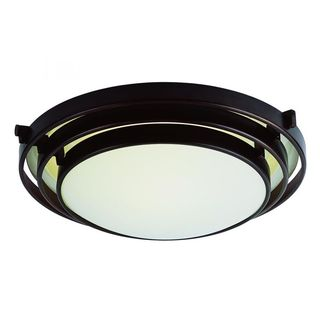 Cambridge Rubbed Oil Bronze Finish 1-light Flush Mount with Frosted Shade