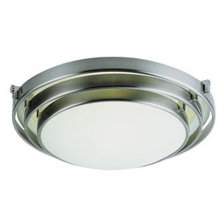 Cambridge Brushed Nickel Finish 1-light Flush Mount with Frosted Shade
