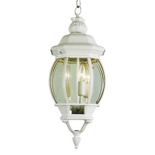 Cambridge 3-light White 25-inch Outdoor Hanging Lantern with Beveled Glass
