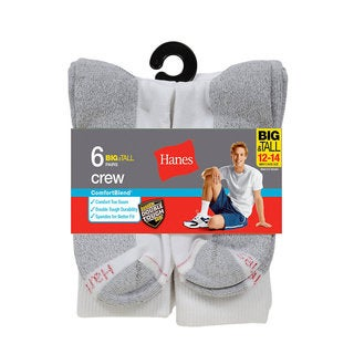 Hanes Men's Big and Tall ComfortBlend Crew Socks 6-Pack
