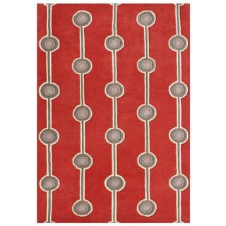 Alliyah Hand-made Fiery Red New Zealand Blend Wool Rug (5'x8')