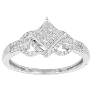 Sterling Silver 1/4ct TDW Micro Pave Diamond Engagement Ring