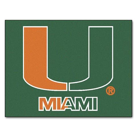 Fanmats Machine-Made University of Miami Green Nylon Allstar Rug (2'8 x 3'8)