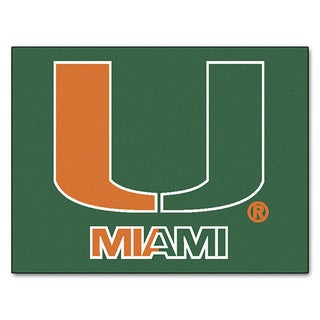 Fanmats Machine-Made University of Miami Green Nylon Allstar Rug (2'8 x 3'8)