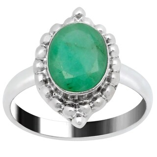 Orchid Jewelry Silver Overlay Oval-Cut Emerald Ring