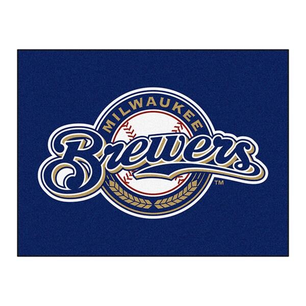 Fanmats Machine-Made Milwaukee Brewers Blue Nylon Allstar Rug (2'8 x 3'8)