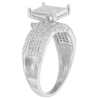 Sterling Silver 3/5ct TDW Diamond Engagement Ring