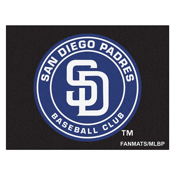 Fanmats Machine-Made San Diego Padres Black Nylon Allstar Rug (2'8 x 3'8)