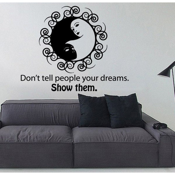 Yin Yang Sign Quote Vinyl Sticker Wall Art