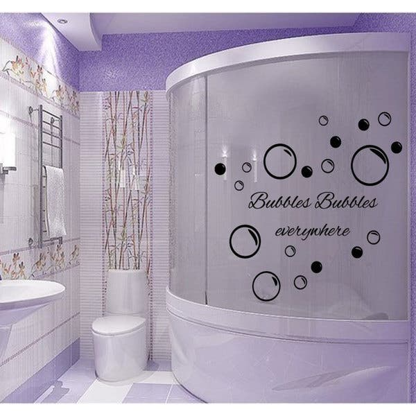 Shop For Bubbles Everywhere Bathroom Quote Vinyl Sticker Wall Art Get Free Delivery On Everything At Overstock Your Online Art Gallery Shop Get 5 In Rewards With Club O 10036731