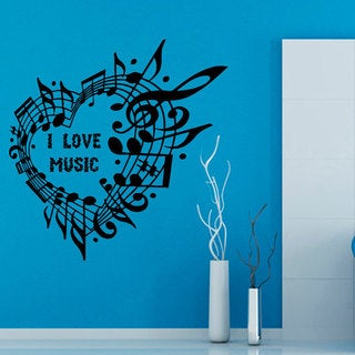 I Love Music Quote Vinyl Sticker Wall Art