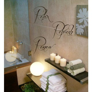 Relax Refresh Renew Quote Vinyl Sticker Wall Art