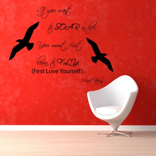 21e80889c35d6 Shop First Love Yourself Quote Vinyl Sticker Wall Art - Free ...