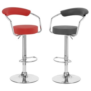 Zool Contemporary Adjustable Faux Leather Barstool (Set of 4)