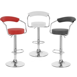 Zool Contemporary Adjustable Faux Leather Barstool (Set of 2)