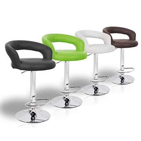 Halo Faux Leather Contemporary Adjustable Barstool (Set of 4)