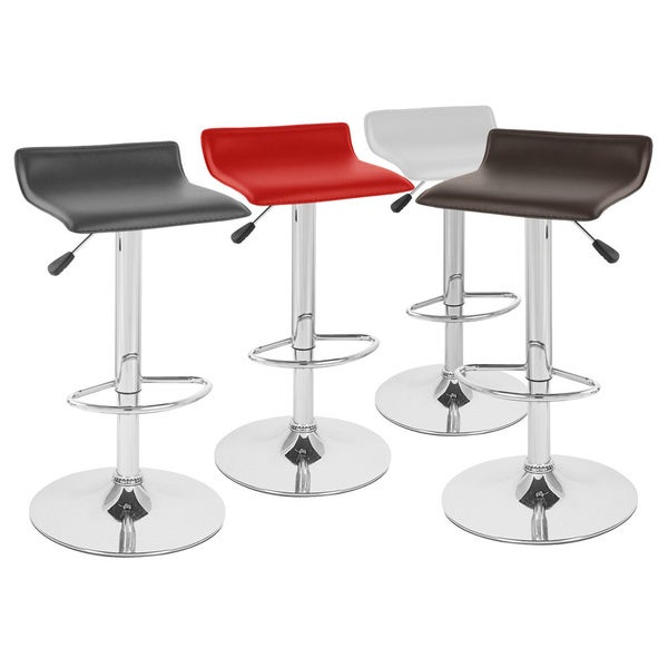 Sigma Contemporary Faux Leather Adjustable Barstool (Set of 4)
