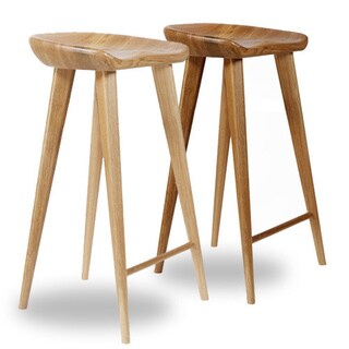 Tractor Contemporary Carved Wood Barstool (Set of 4)