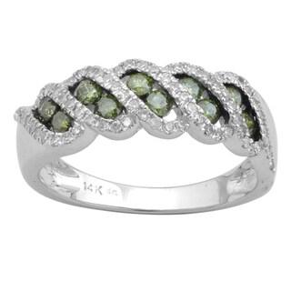 Divina 10k White Gold 3/4ct TDW Green and White Diamond Fashion Band (H-I, I2-I3)